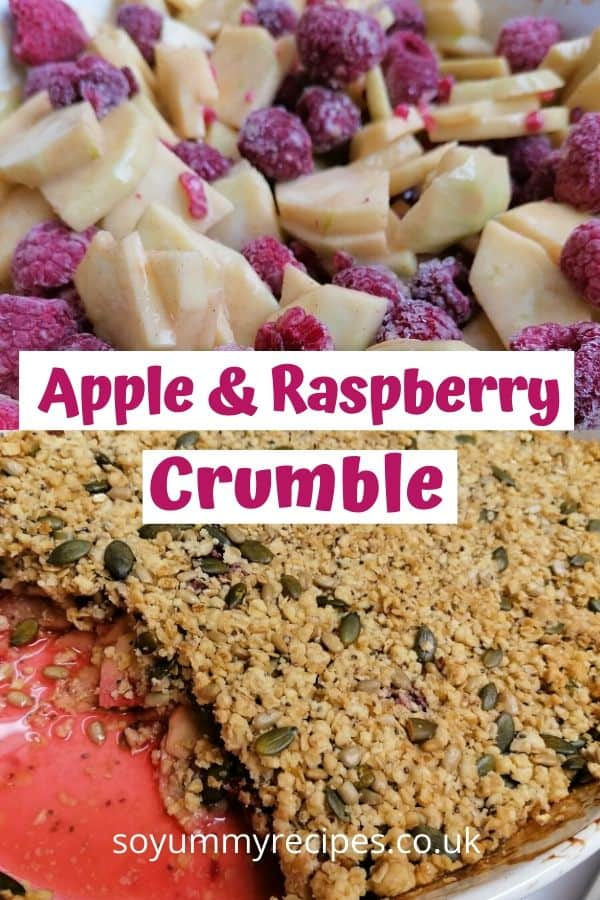 The less naughty apple and raspberry crumble