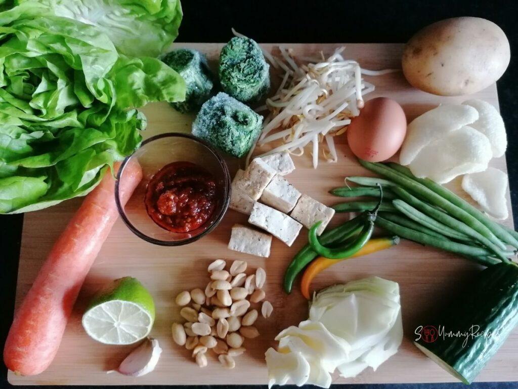 Ingredients to make gado-gado