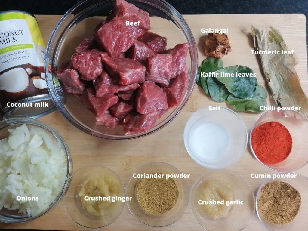 Ingredients of beef rendang
