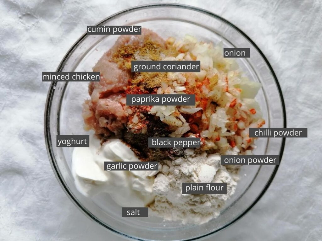 ingredients for chicken kebab patties