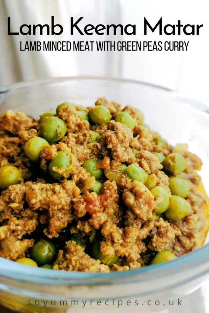 A bowl of keema matar - minced meat with green peas curry