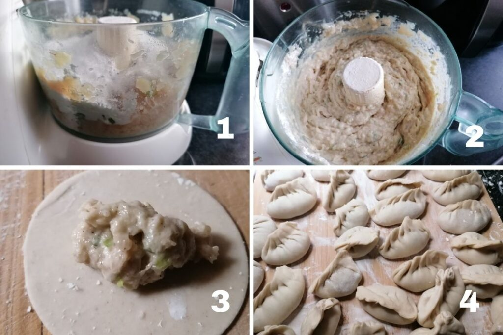 chicken mince in a food processor and dumplings on a chopping board