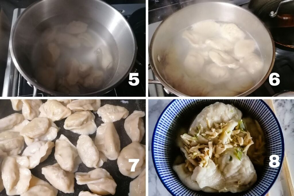 boiling dumplings in a pan and a bowl of ready-cooked dumplings