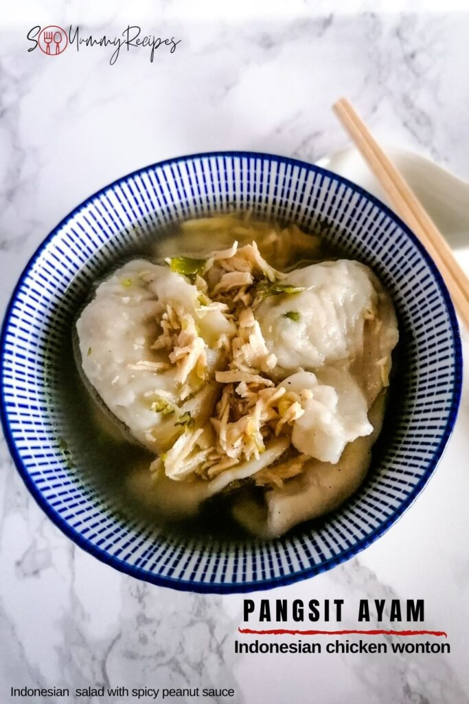 a bowl of Indonesian chicken wontons - pangsit ayam