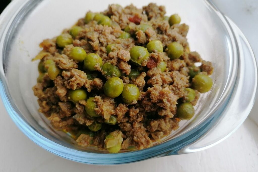 A bowl of lamb keema matar - Pakistani lamb minced meat with green peas curry