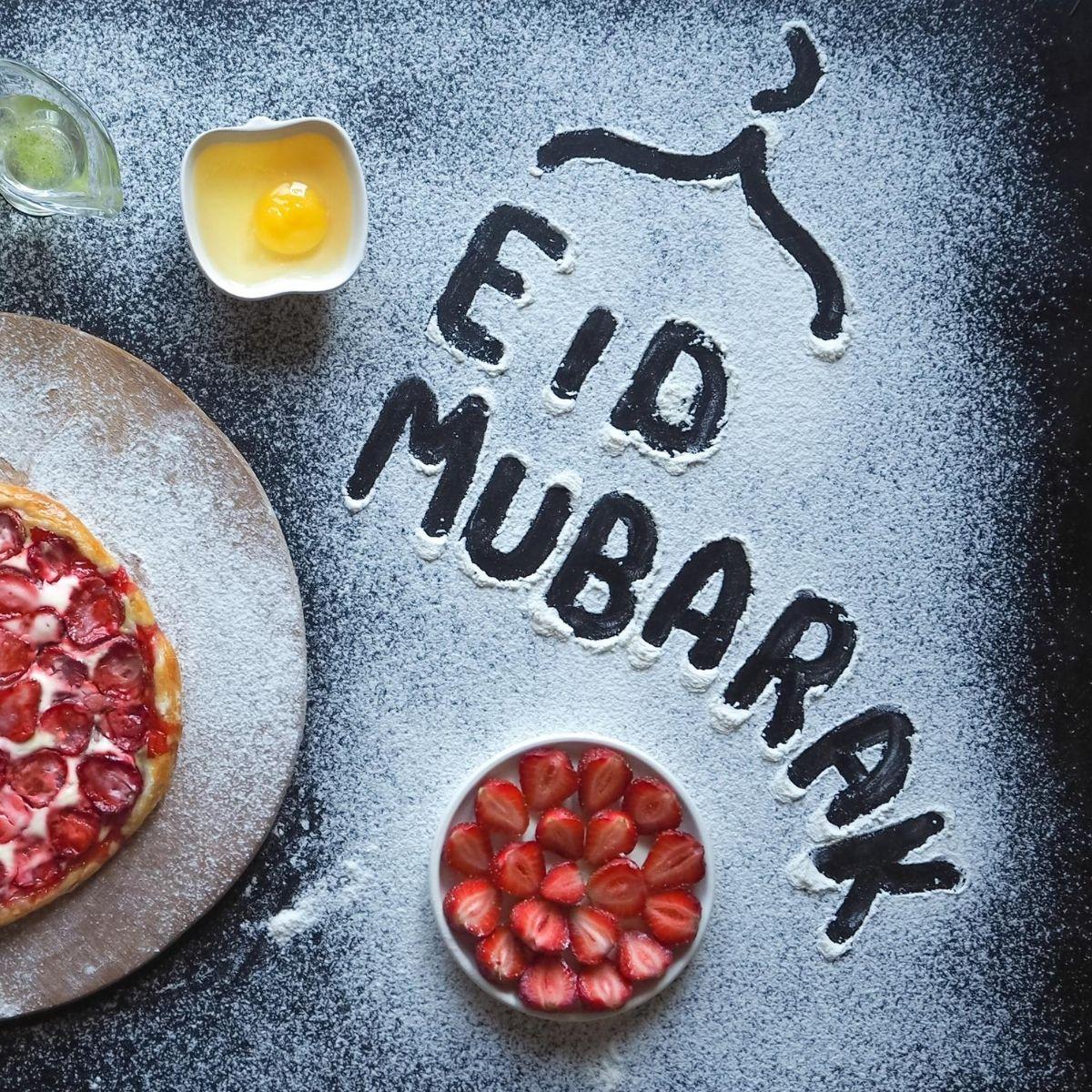 Eid mubarak writing on flour