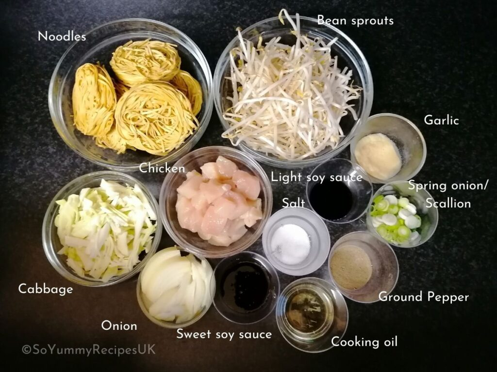 ingredients for mie goreng