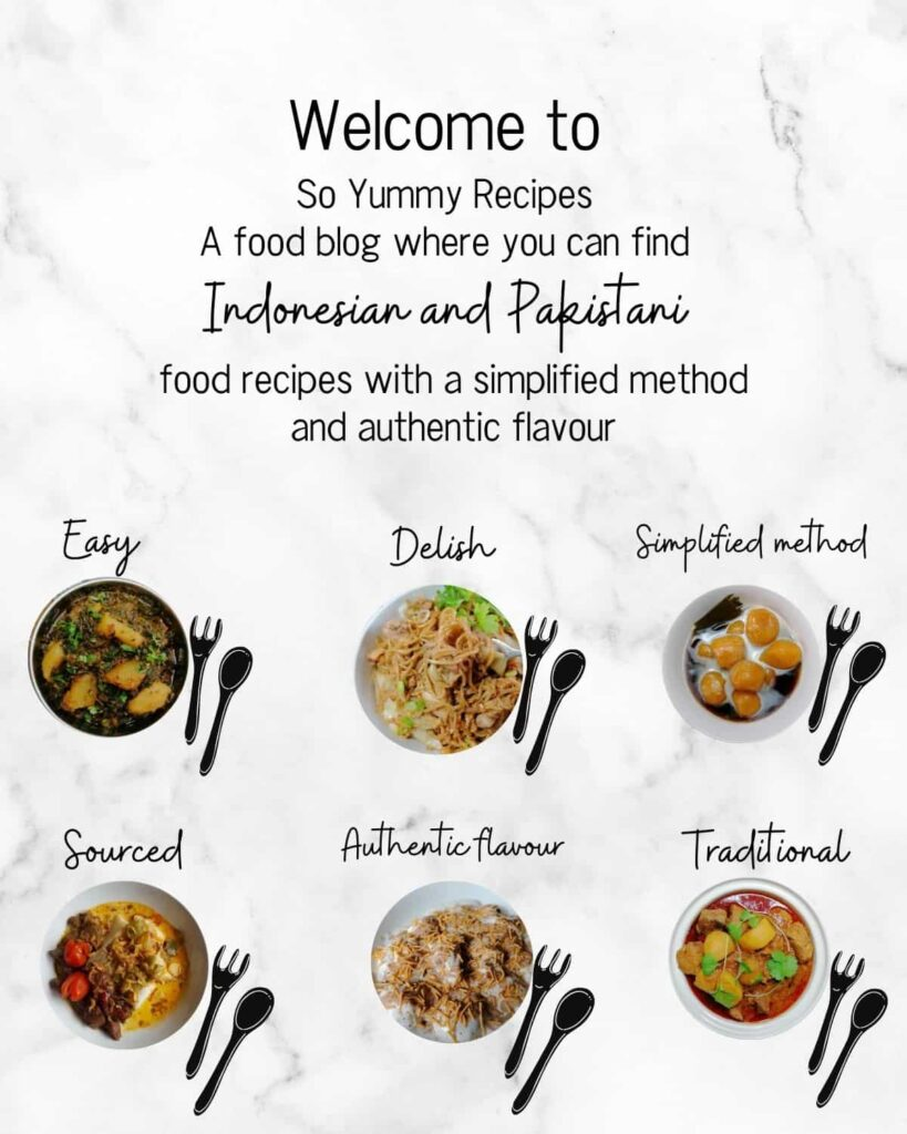 welcome note and introduction on what the blog is about with six pictures of Indonesian and Pakistani food