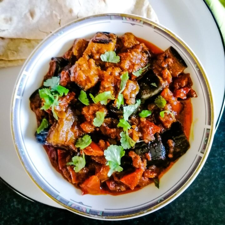 aubergine curry cooked in Pakistani style