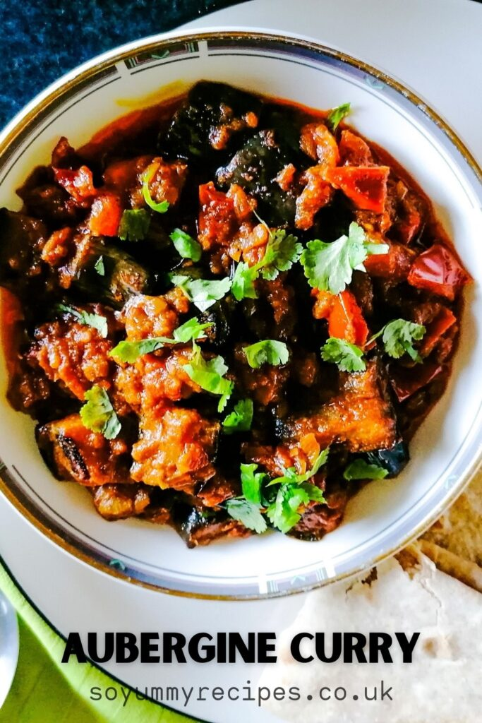 a dish of aubergine curry