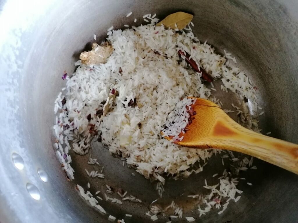 frying rice for kitchari