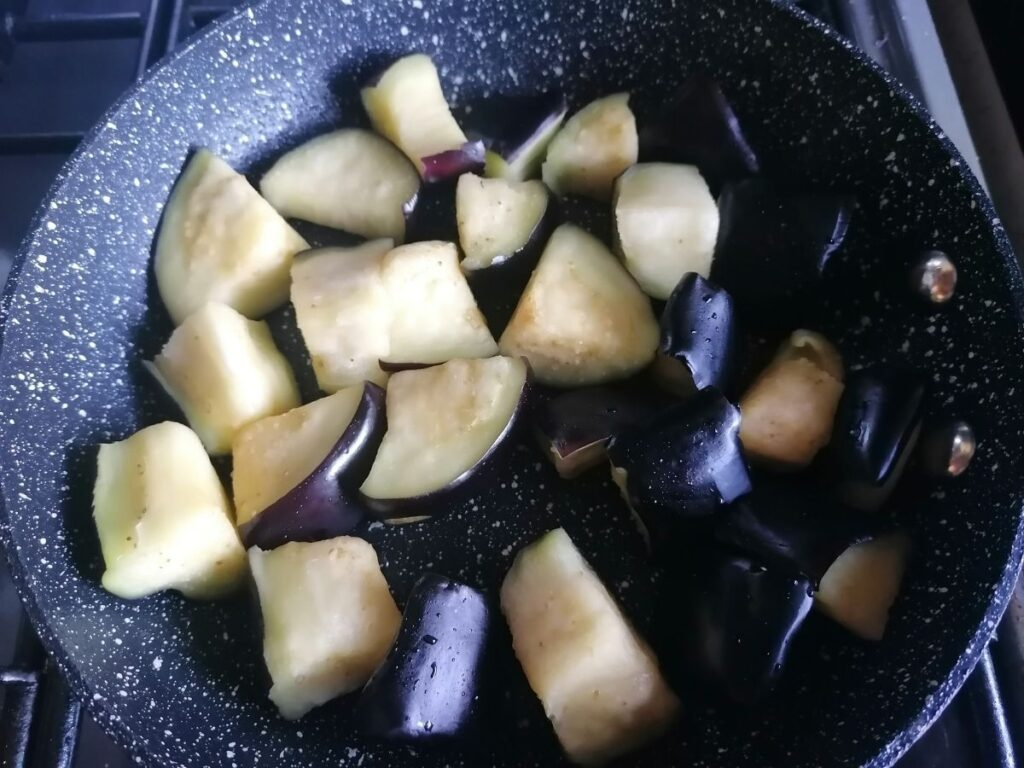 aubergines pieces ready to cook