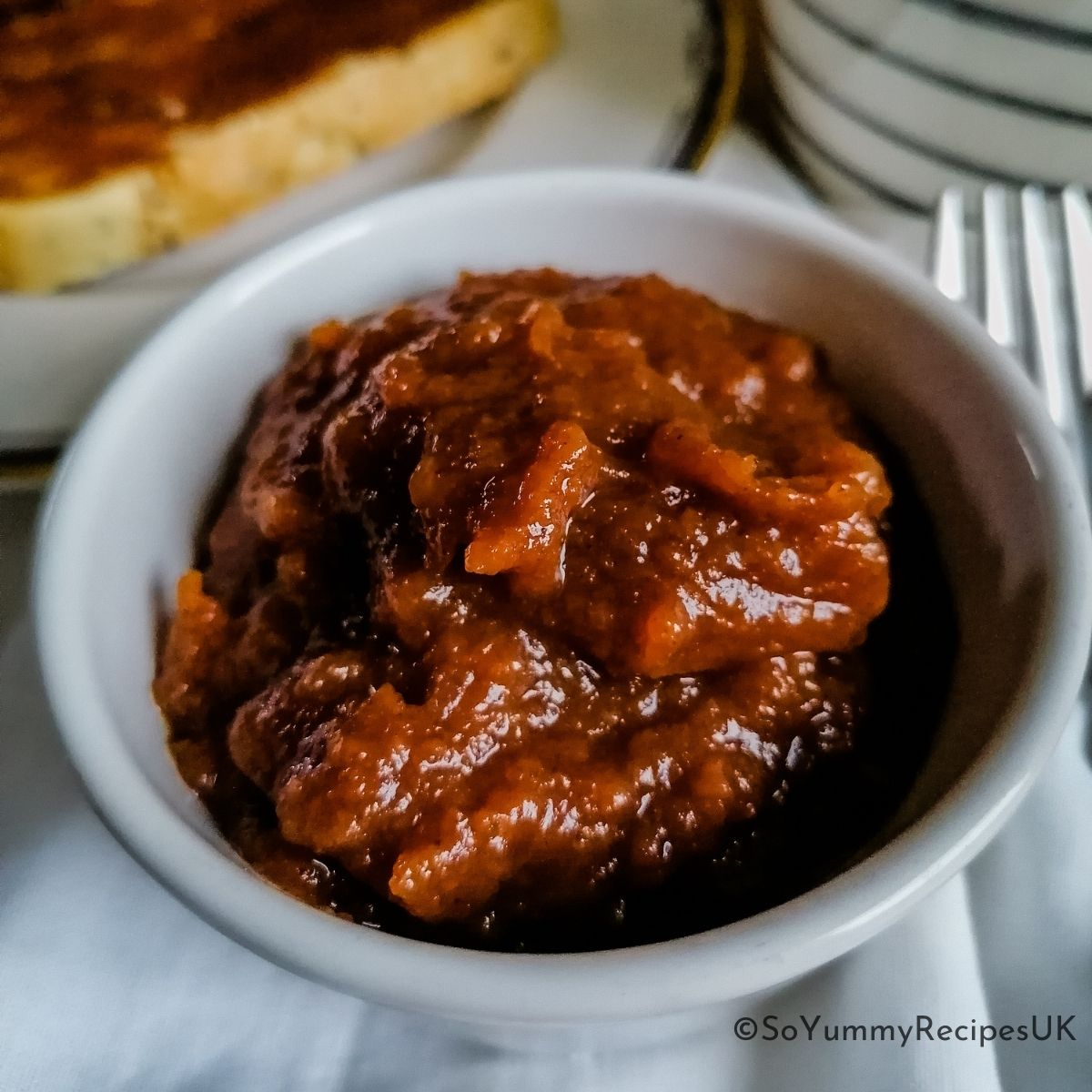 a bowl of apple jam