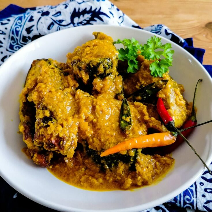 A dish of Pesmol Ikan - fish dish in tangy and spicy sauce from west Java