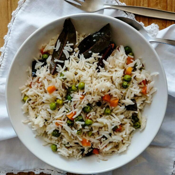 A bowl of Pakistani vegetable pilau rice