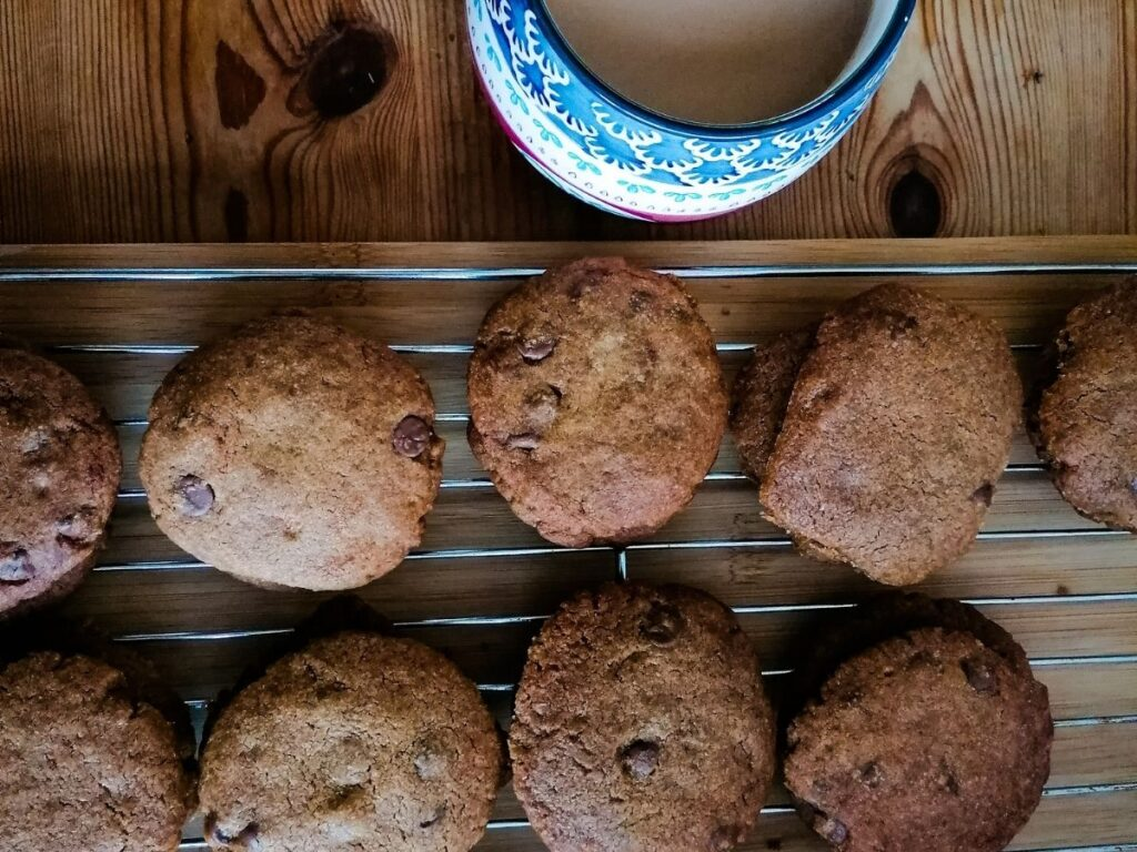 chocolate chip cookies with coconut oil and a mug of coffee