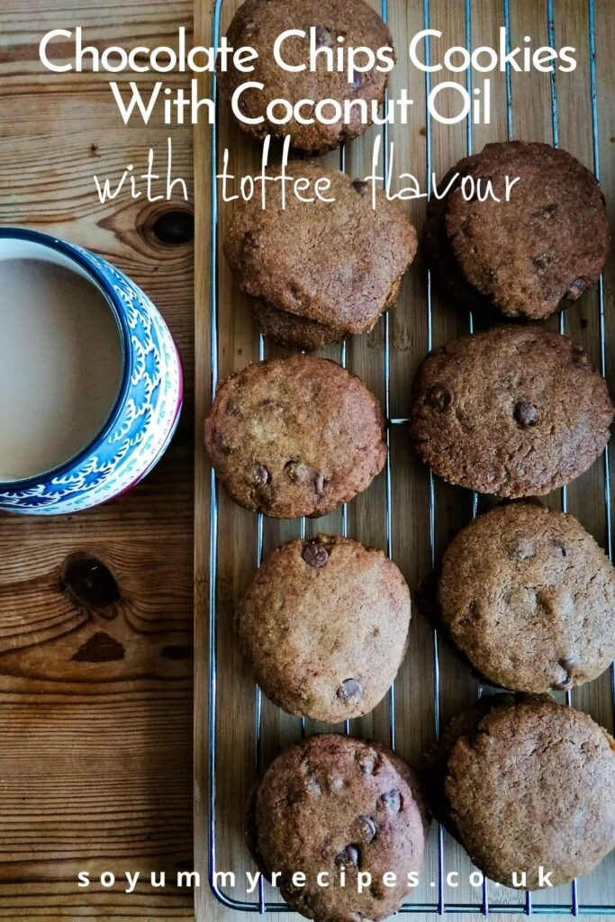 chocolate chip cookies with coconut oil on a cooling rack and a mug of coffee with an overlay text