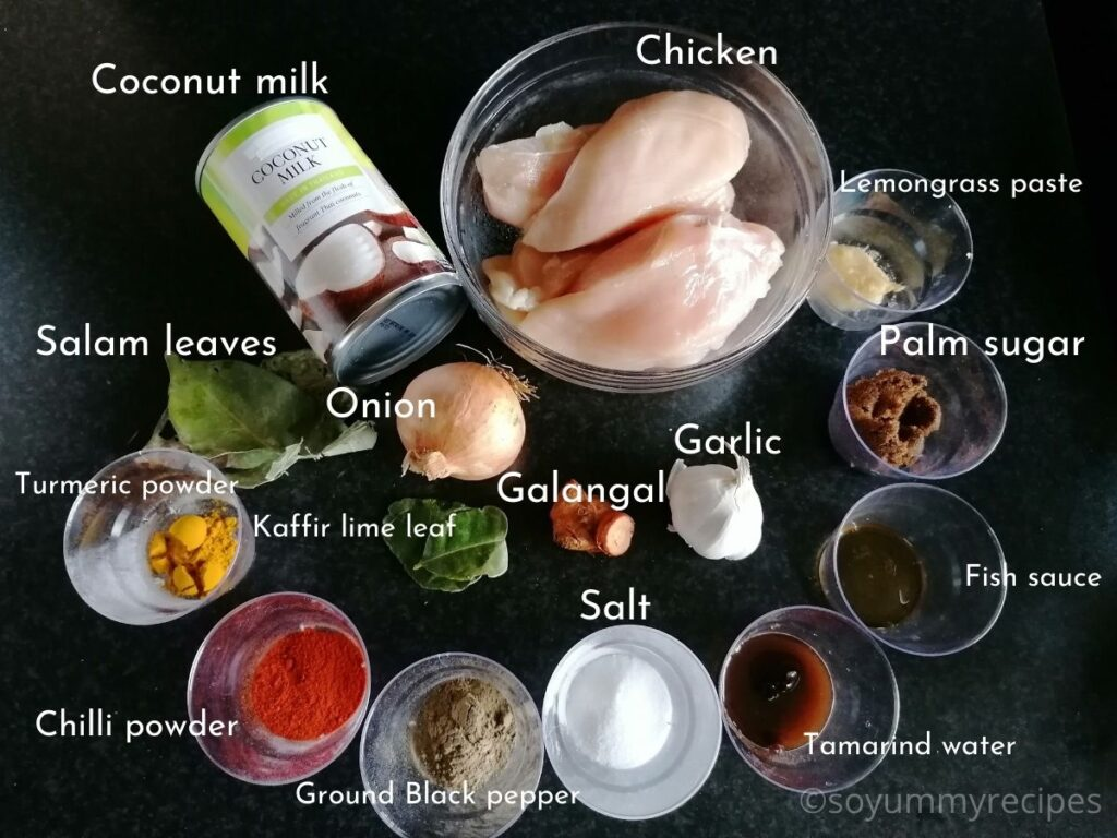 ingredients for Balinese spicy shredded chicken - Ayam Suwir Bumbu Bali