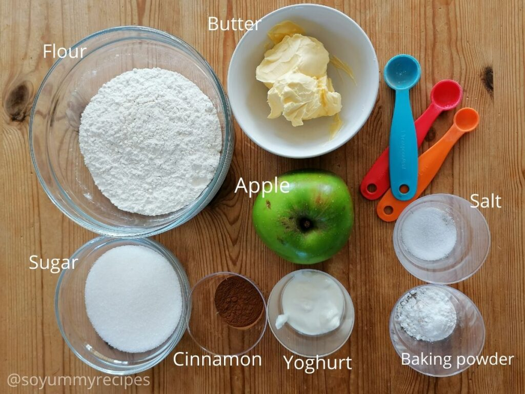 ingredients for apple cupcakes