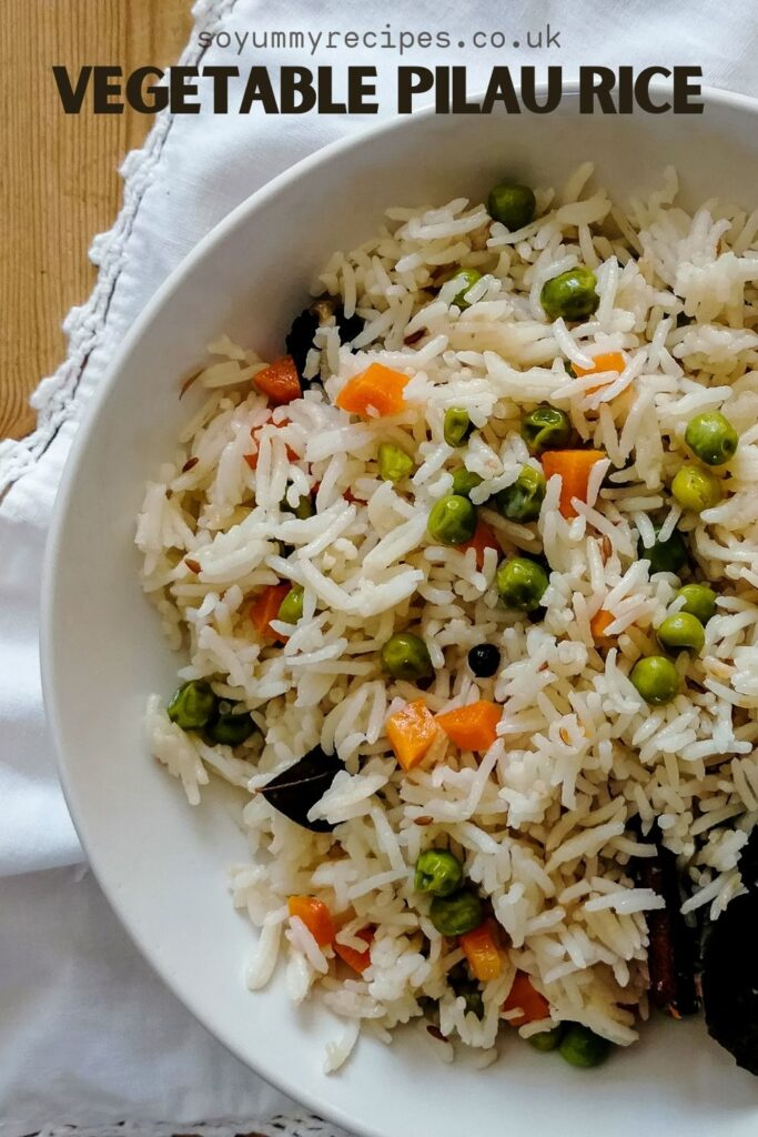vegetable pilau rice with an overlay text