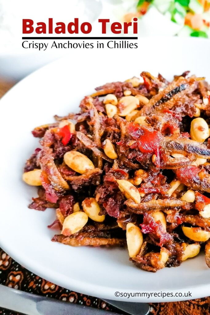 Spicy anchovies and peanuts with overlay text