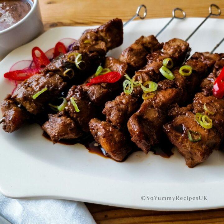 skewers of Indonesian chicken satay