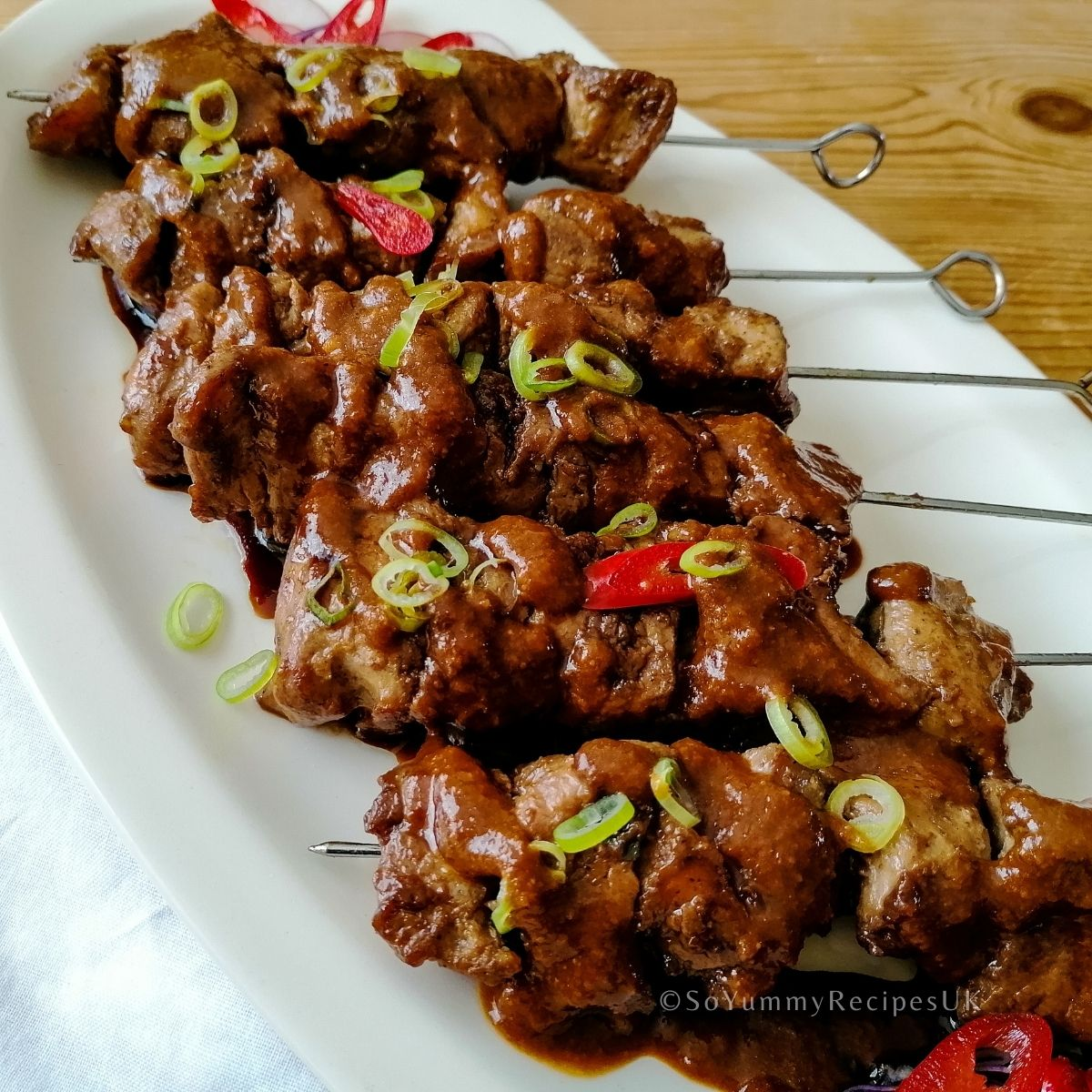 an array of Indonesian chicken satay