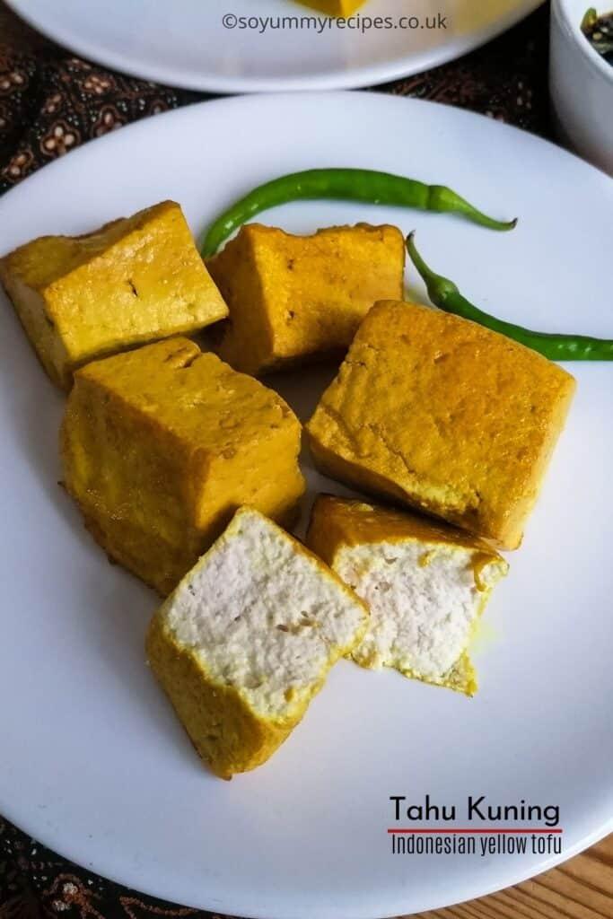Indonesian yellow tofu image with overlay text