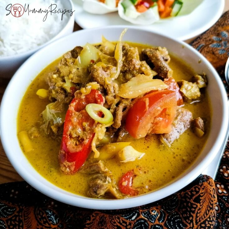 Lamb tongseng - Javanese braised lamb in spicy coconut milk with sweet soy sauce