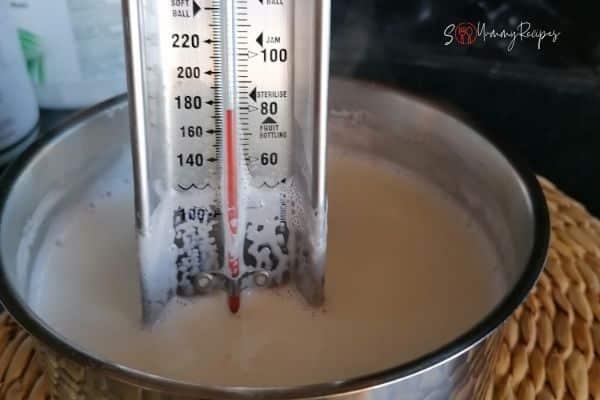 soya milk at 80°C/ 176°F
