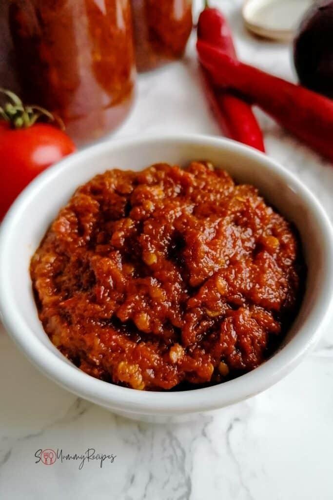 a bowl of Sambal Goreng Terasi - the Indonesian chilli sauce with dried shrimp paste