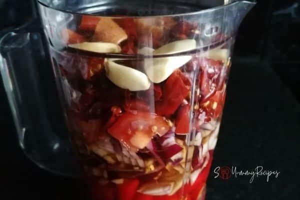 sambal ingredients in a blender