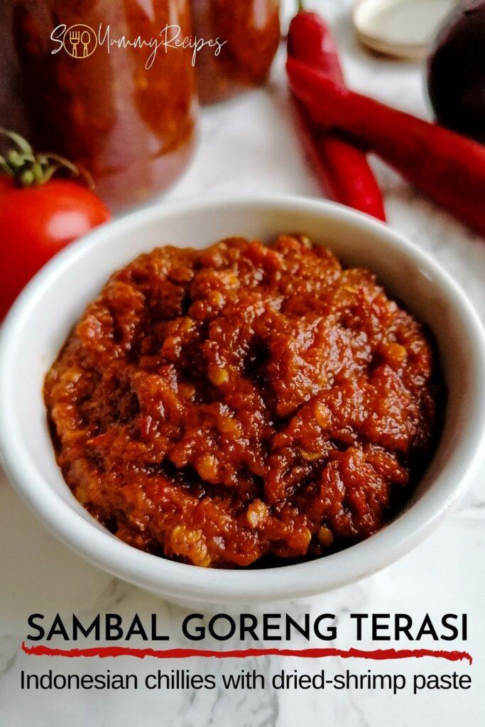 a bowl of dried-chilli sauce with overlay text of Sambal Goreng Terasi