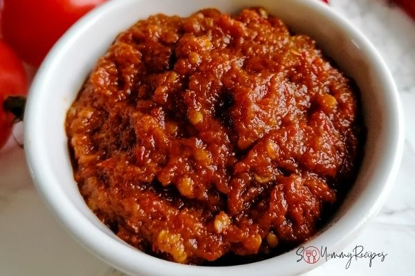 a bowl of ready cooked Indonesian chilli sauce with shrimp paste
