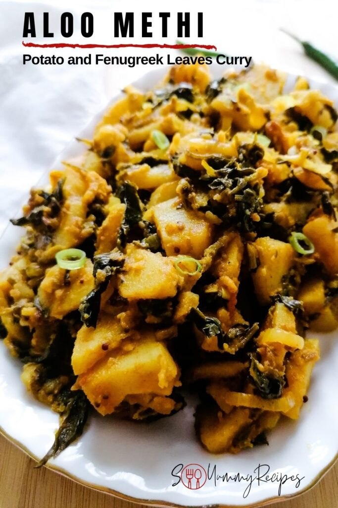 potato curry with fenugreek leaves with a overlay text