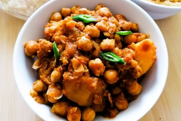 ready cooked chickpea curry with potatoes