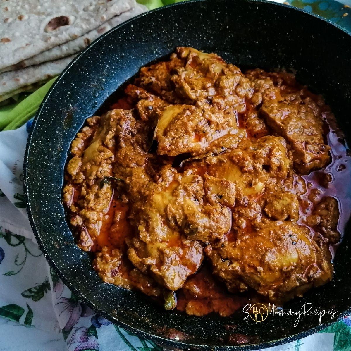 Pakistani Achari Chicken in a pan
