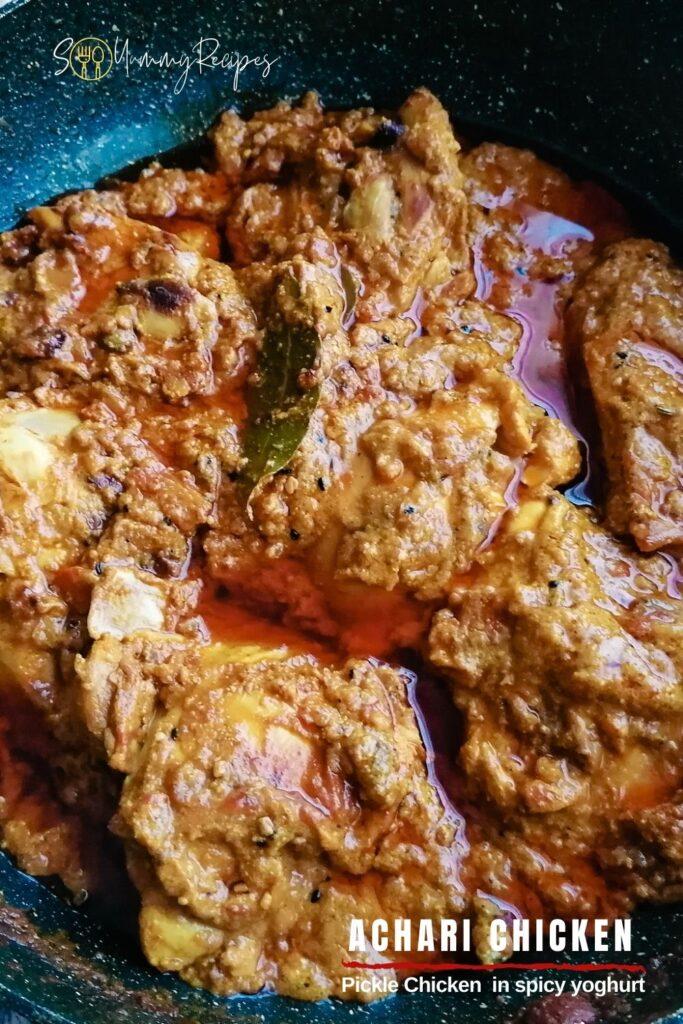 Achari Chicken with overlay text