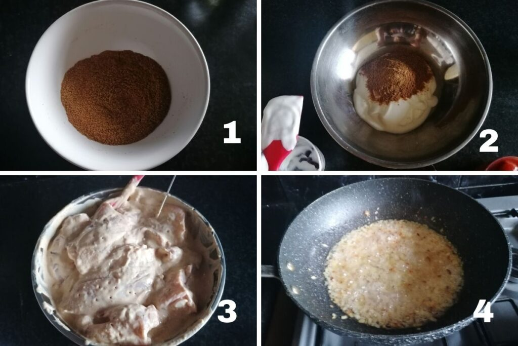 the first four steps of how to cook pickle chicken