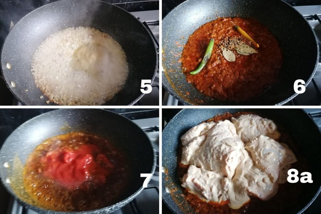 making masala and cooking chicken