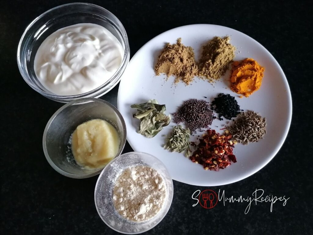 ingredients for yoghurt sauce
