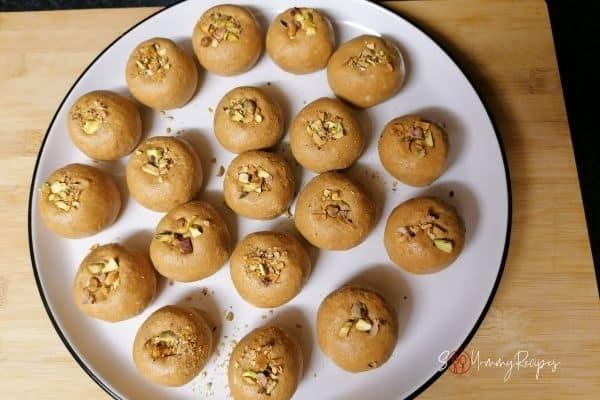 Besan Ladoos on a plate