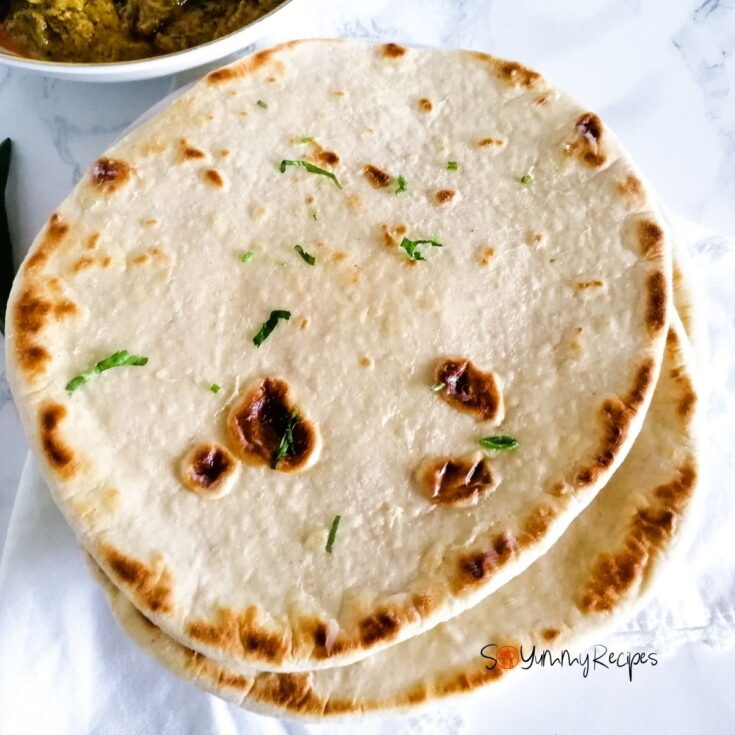 a few naan breads stacked together
