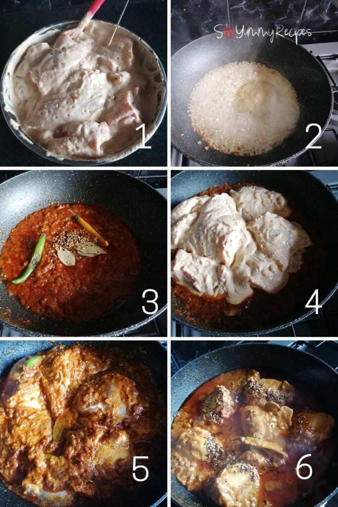 photo collage of how to make chicken achari