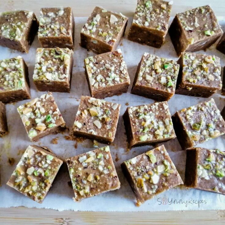 small squares of Besan Barfi - the sweet chickpea fudge