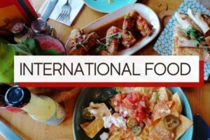 international food with overlay text
