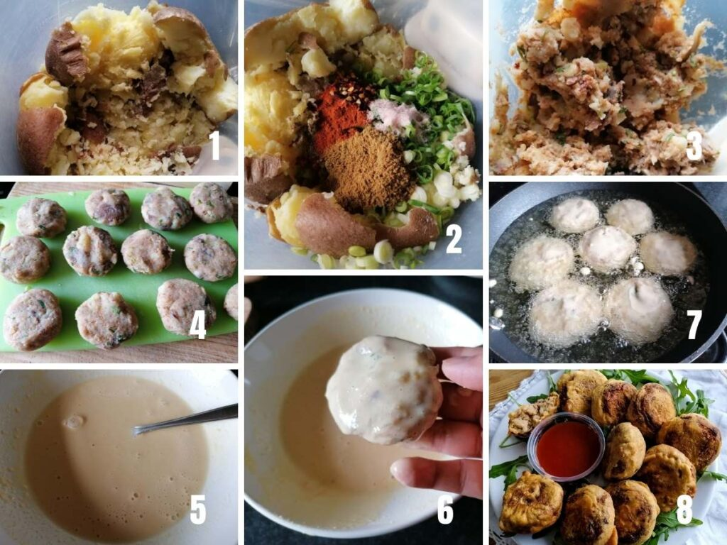 photo collage of the making process of Aloo Tikki