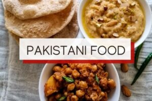 pakistani food with overlay text