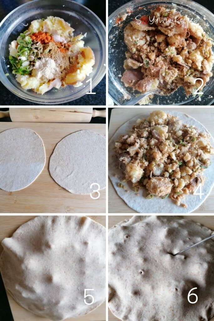 photo collage of making the filling and dough for aloo paratha