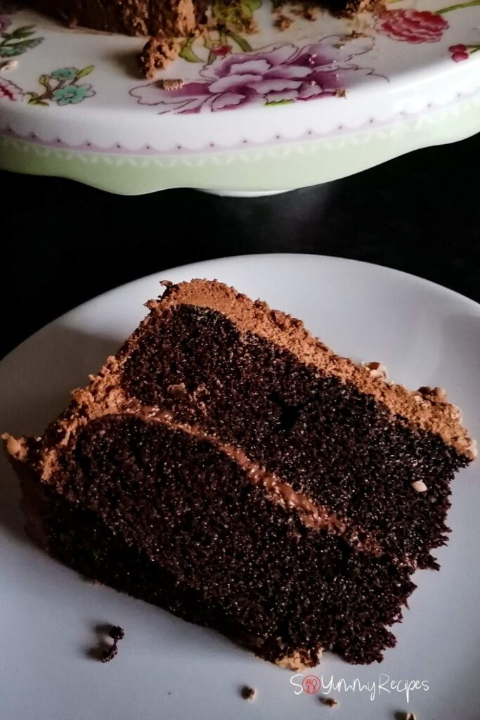 a piece of chocolate cake on a white plate